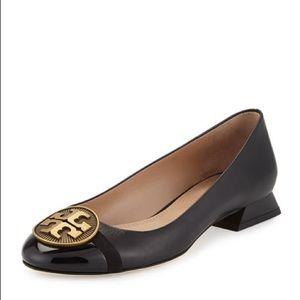 Tory Burch black leather logo block heel flats